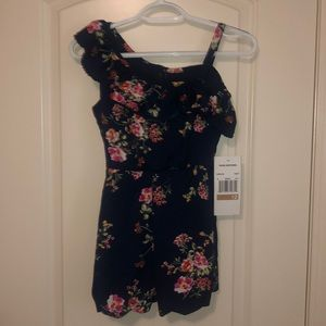 Rare Editions Navy Floral Romper NWT Size 12